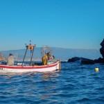 pescatori all'opera accanto all'isola di bergeggi