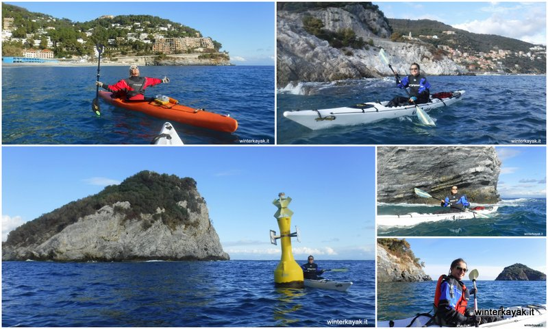 inverno in kayak Spotorno in Liguria