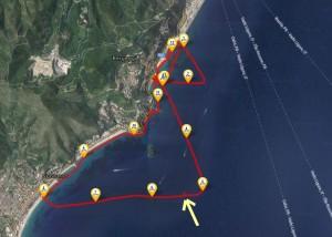 La freccia gialla indica il luogo dell'avvistamento
