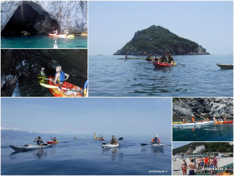 gruppo compleanno isola di bergeggi in canoa