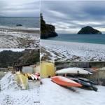 02 marzo 2018, neve a Bergeggi che ospita anche una sede di Winterkayak.